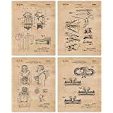 Vintage Scuba Patent Art Poster Prints, Set of 4 (8x10) Unframed Photos, Great Wall Art Decor Gifts Under 20 for Home…