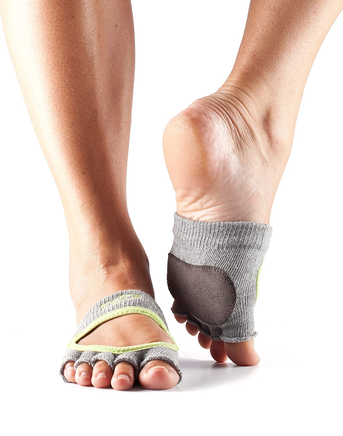ToeSox Women's Releve Half Toe Grip for Dance, Yoga, Pilates, and Barre Toe Socks with Leather PAD