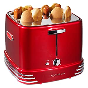 Nostalgia RHDT800RETRORED Four Dogs & Buns Pop-Up Toaster, 4-Hot Dogs Retro Red