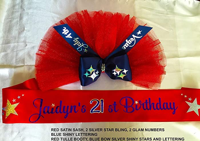 Amazon com: Patriotic 21st Birthday Sash, with Optional