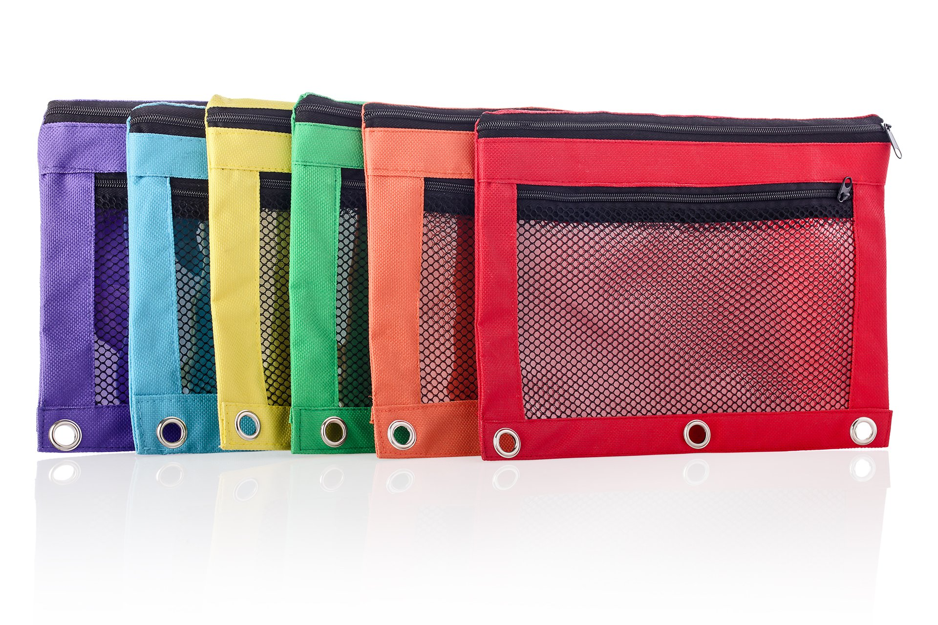 Pencil Bag with Zipper for Kids & Adults by Boona|3 Ring Binder Pouch for Fountain Pens|2 Compartments & Mesh Window|Canvas Organizer|Art Marker & Crayon Carrying Pouch|Washable (5 Pack of 6 colors)