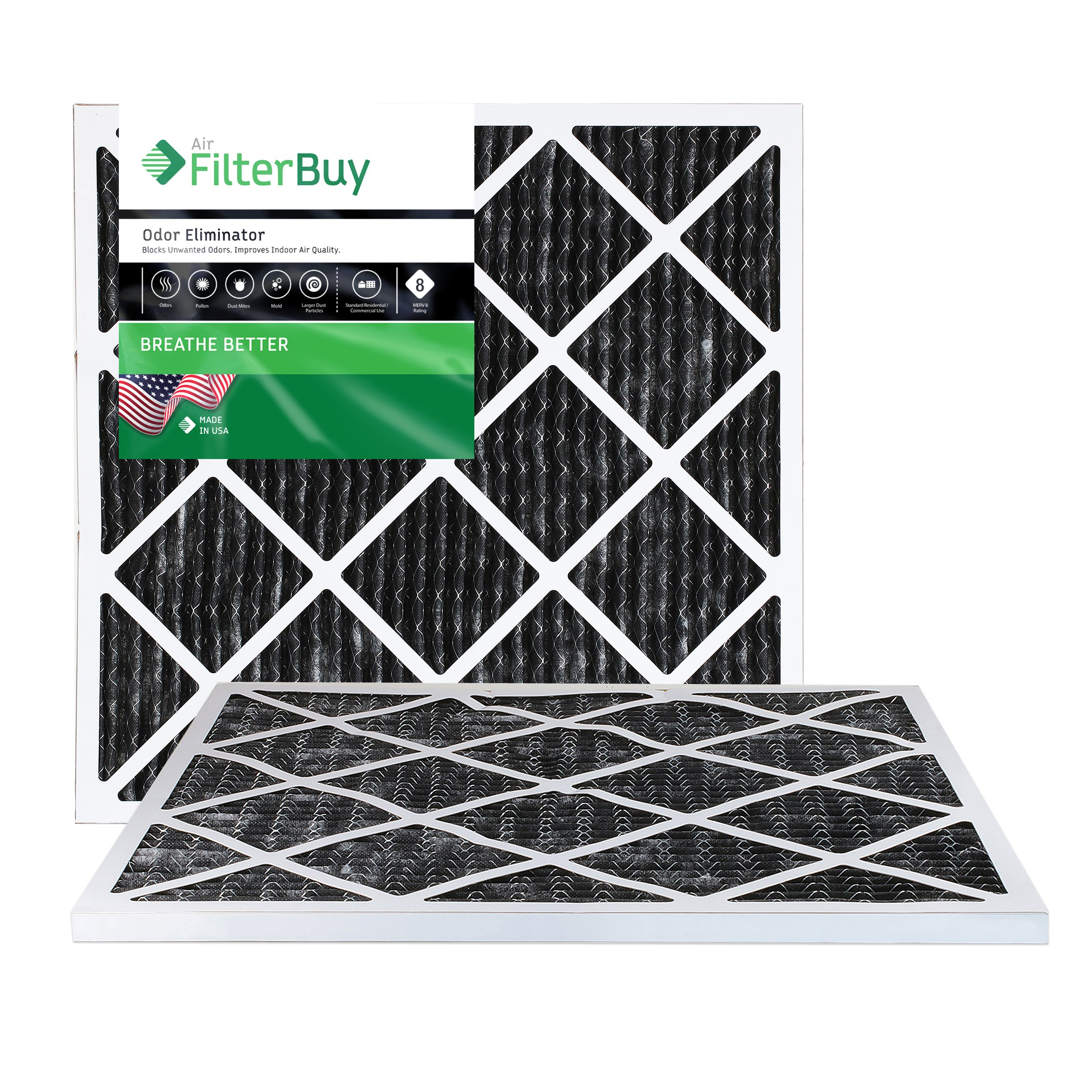 FilterBuy Allergen Odor Eliminator 20x20x1 MERV 8 Pleated AC Furnace Air Filter with Activated Carbon - Pack of 2-20x20x1