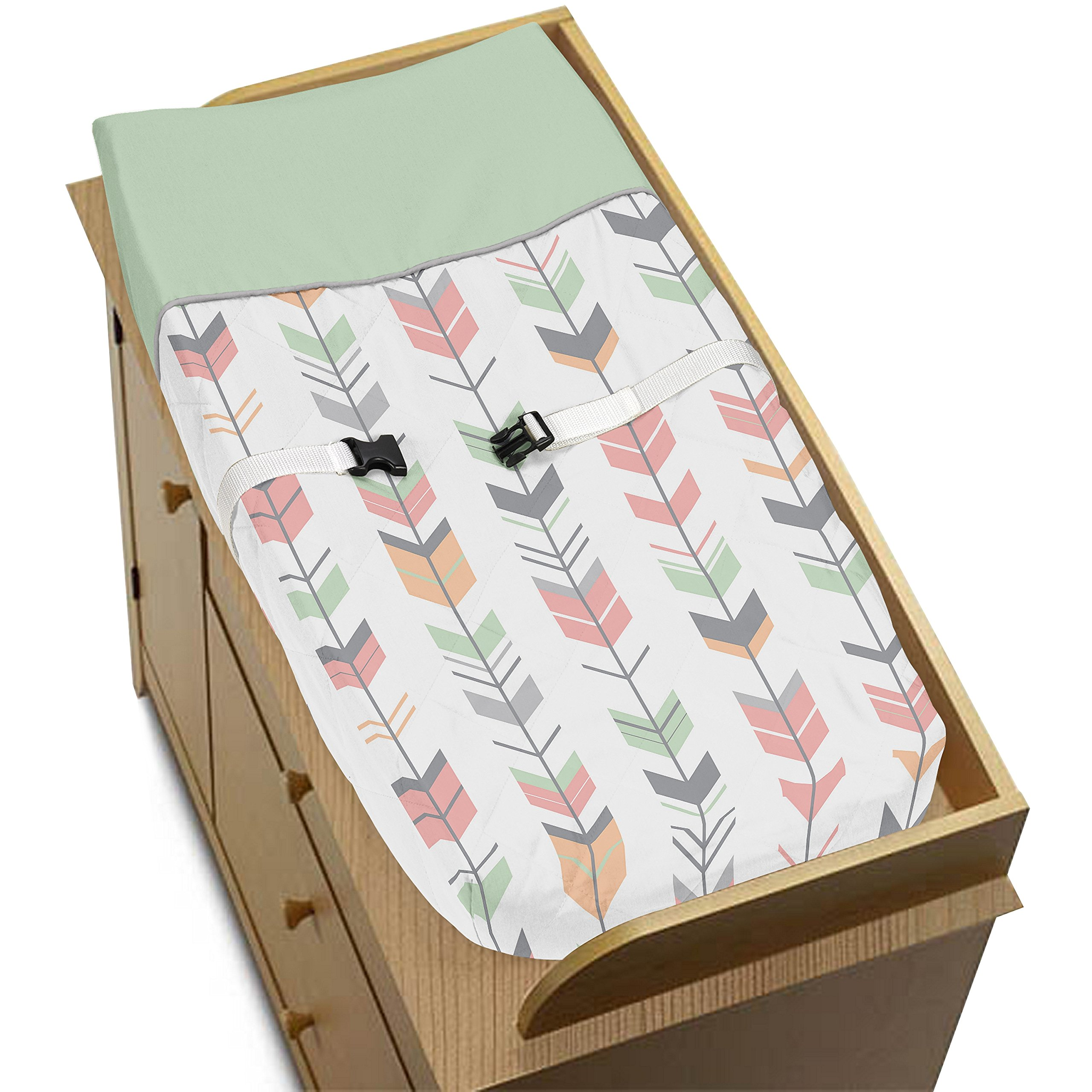 Sweet Jojo Designs Grey, Coral and Mint Woodland Arrow Baby Girls Changing Pad Cover