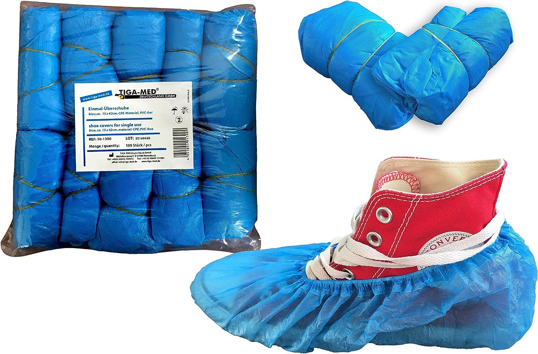 100 Stück Einweg Schuhüberzieher Einmal Überschuhe Überzieherschuhe Blau Rosa DE