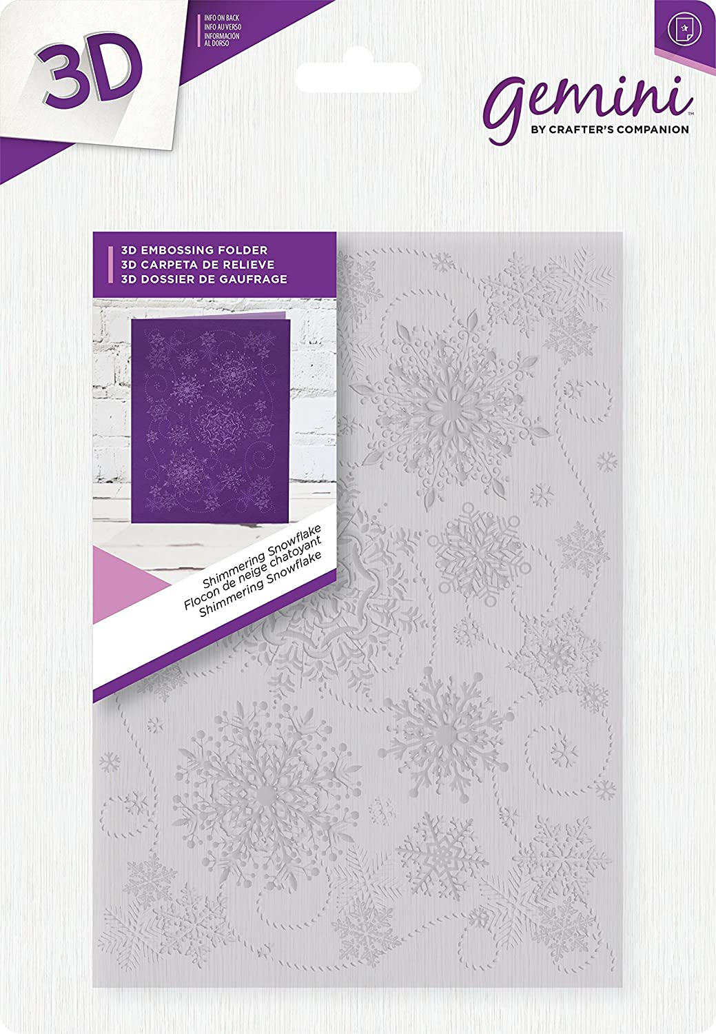 Crafters Companion 5 x 7 3D Card Embossing Folder Shimmering Snowflake