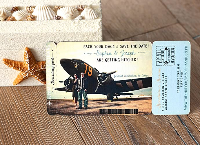 Amazon Boarding Pass Save the Date Magnet Destination – Save the Date Destination Wedding Magnets