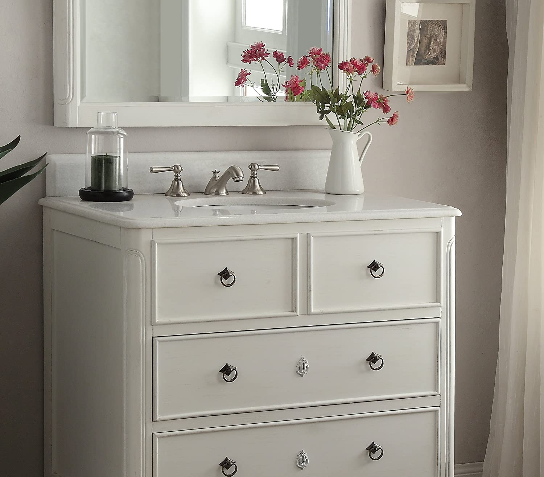 Daleville 34 inch vanity hf081wp distressed cream - 34 Cottage Look Daleville Bathroom Sink Vanity Mirror Set Hf 081aw Mir Antique White Amazon Com