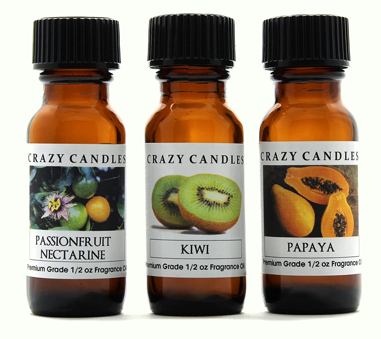 Crazy Candles 3 Bottles Set, 1 Passion Fruit Nectarine, 1 Kiwi, 1 Papaya 1/2 Fl Oz Each (15ml) Premium Grade Scented Fragrance Oils