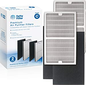 Fette Filter - Air Purifier Filters Compatible with Idylis C Air Purifiers Models: Idylis IAP-10-200 & IAP-10-280, Compare to Part # IAF-H-100C, 2 HEPA & 2 Carbon Filters