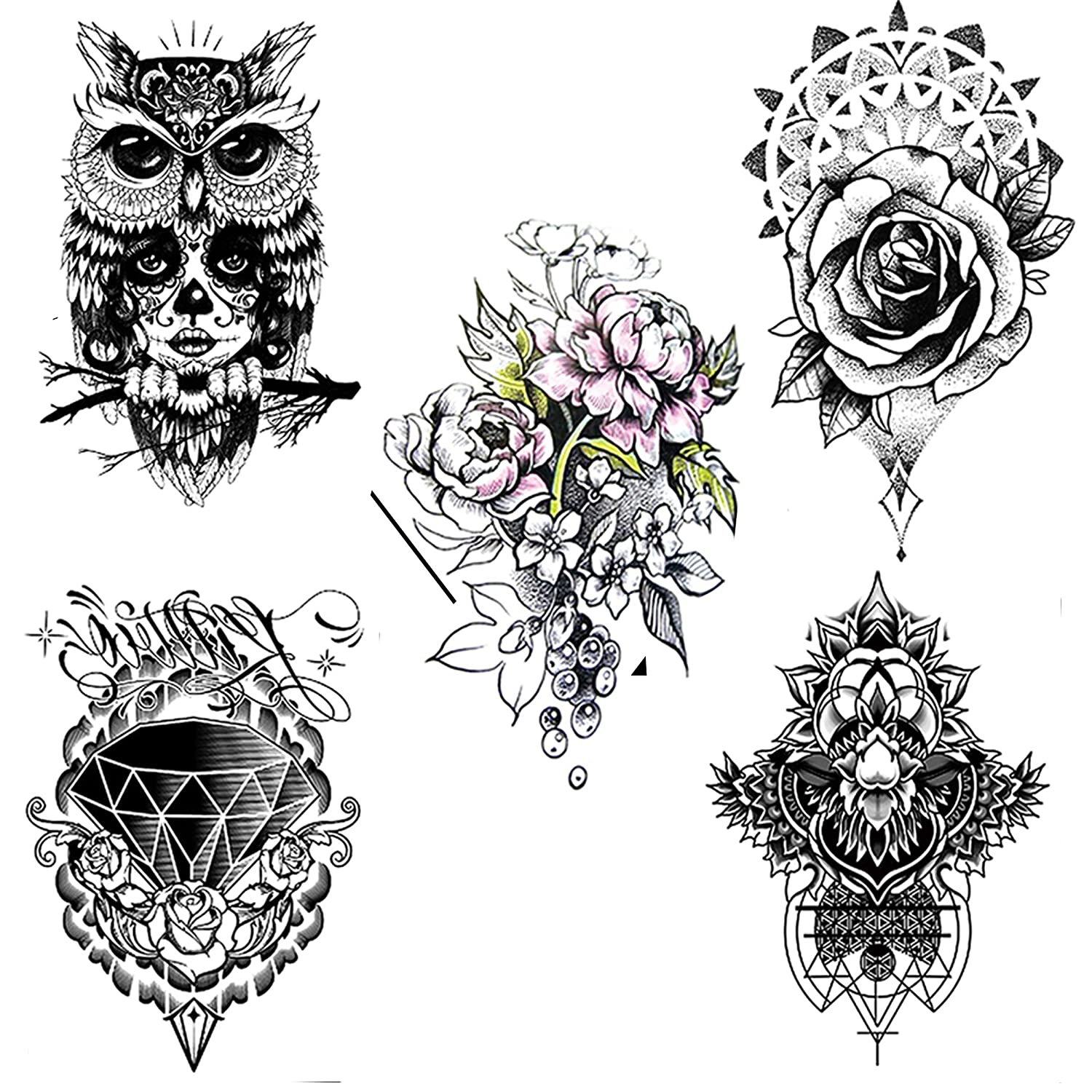 5 Sheets of black diamond, color flower mixed waterproof tattoo stickers for men and women.