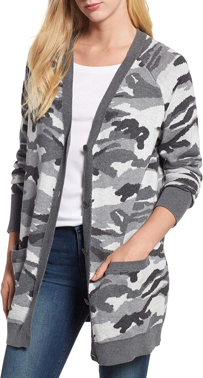 Lucky Brand Bombing free shipping Women's specialty shop Button Sweater Front Cardigan Camo