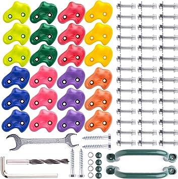 Mangos de Escalada para niños, 24 psc, 8 Colores, con Hardware de instalación Segura. Rocas de Escalada de plástico de Textura Pesada con 2 Asas ...