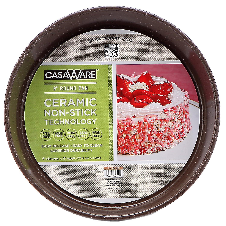 casaWare Ceramic Coated NonStick 9-Inch Round Pan, Blue Granite 1-4124-8B