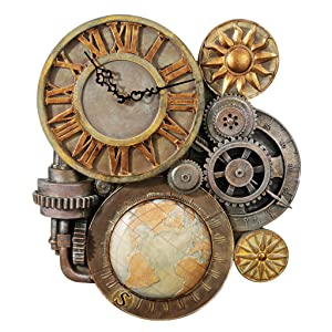 Design Toscano Gears of Time Steampunk Wall Clock Sculpture, Large 25 Inch, Polyresin, Full Color