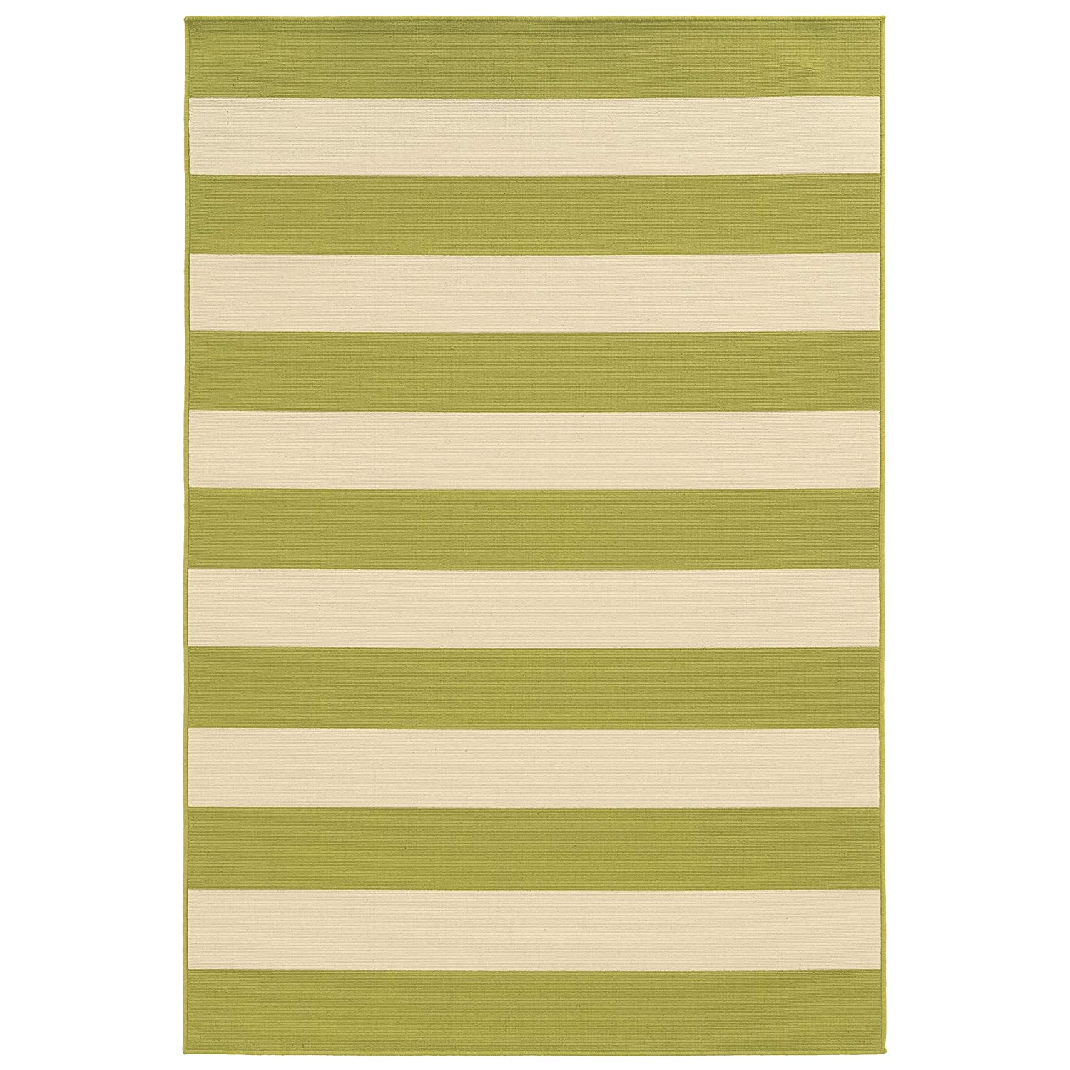 Christopher Knight Home CK-E8674 Lacosta Stripe Indoor/Outdoor Area Rug 7ft 10in X 10ft 10in Green,Ivory