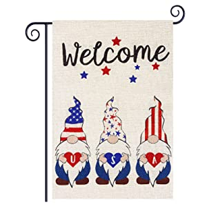 Roberly Welcome Gnome Patriotic Garden Flag, Double Sided 4th of July Americ-an Garden Flag Patriotic Yard Flag Memorial Day Independence Day Outdoor Home Patriotic Decorations Gifts 12.5 X 18 Inches