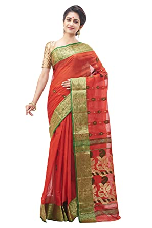 9ede6a7457 Slice Of Bengal Handloom Tangail Tant Benarasi Saree Red 101001001051:  Amazon.in: Clothing & Accessories