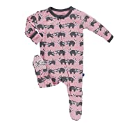 Kickee Pants Baby Girls' Print Footie Prd-kpf175-lrn, Lotus Raccoon, 6-9 Months