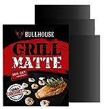 Grillmatte (3er Set) Perfekt für Grill & Backofen | Extra dick & Garantiert hitzebeständig bis 260°C | Antihaftbeschichtung | 40 x 33 cm by Bullhouse® | Inklusive Smoking Guides