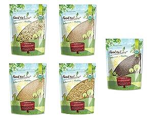 Organic Super Seeds in a Gift Box - Hemp Seeds, White Quinoa, Amaranth, Brown Basmati Rice, and Chia Seeds