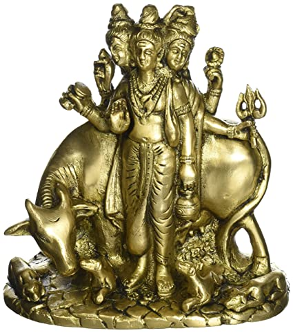 160e4e4c82c82 Image Unavailable. Image not available for. Color: Hindu Gods Three Face Shiva  Brahma Vishnu Brass Sculpture