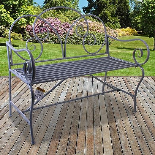 Marko Outdoor Girona - Banco de jardín de Metal, diseño rústico, Color Gris pálido, Decorativo, para Patio de 2/3 plazas, Estilo Shabby Chic: Amazon.es: Jardín