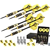CC-Exquisite Professional Darts Set - 6 Steel Tip Darts Complete with 12 Dart Flights and 12 Aluminum Shafts Customizable Configuration, 12 O-Rings, Tool, Sharpener and Case for Man Cave & Game Room