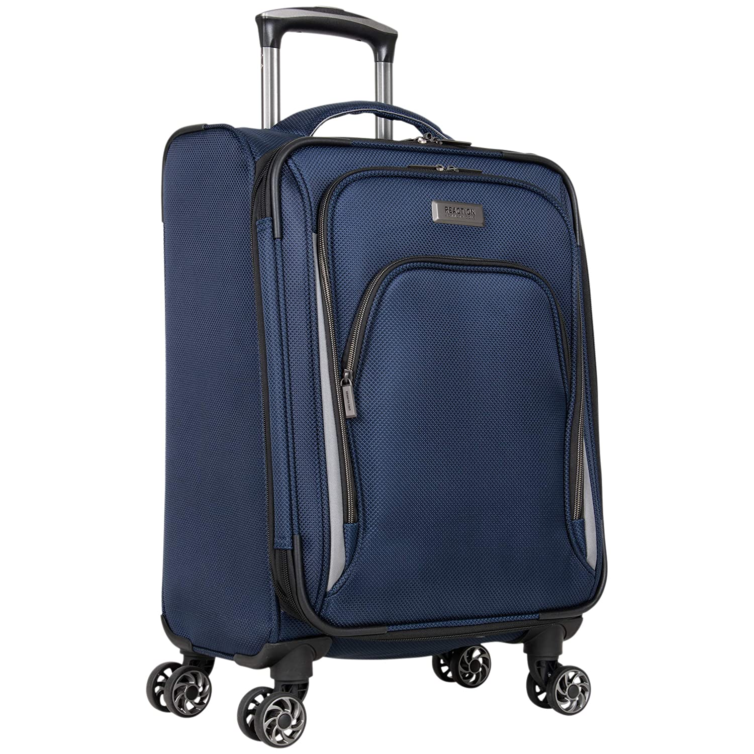 Kenneth Cole Reaction Cloud City 20 Lightweight Softside Expandable 8-Wheel Spinner Carry-On Travel Suitcase, Navy