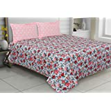 haus & kinder Tropical Floral Bloom, 100% Cotton, 144 Thread Count, Double Bedsheet with 2 Pillow Covers (Pink)