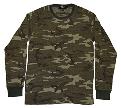 Polo Ralph Lauren RRL Mens Thermal Waffle Camo Army Green Brown Shirt Medium