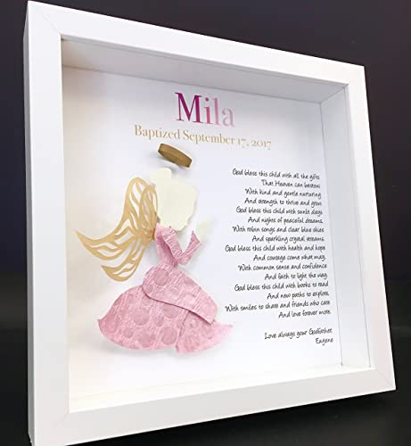 Personalized christening baptism baby girl shadowbox frame with personalized christening baptism baby girl shadowbox frame with name origin and meaning and praying paper angel negle Image collections