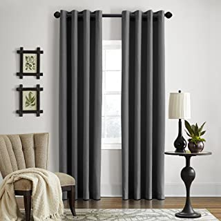 "product image for Veratex Gotham Collection Contemporary Style 100% Linen Bedroom Grommet Fastener Style Curtain, 96"" Long, Dark Grey"