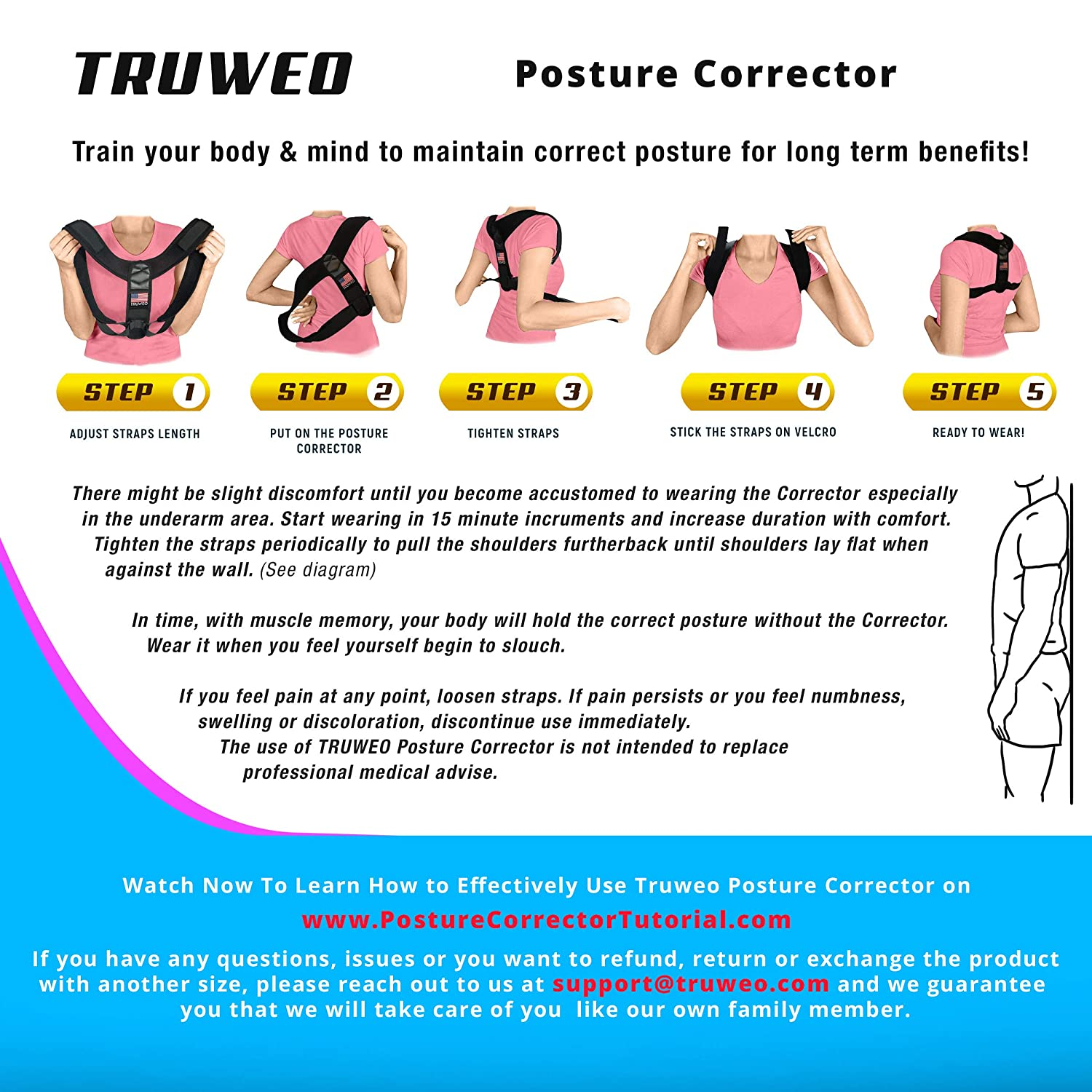 b931c51b68b11 Amazon.com  TRUWEO Posture Corrector for Men and Women - USA Designed Upper  Back Brace for Clavicle Support and Providing Pain Relief from Neck