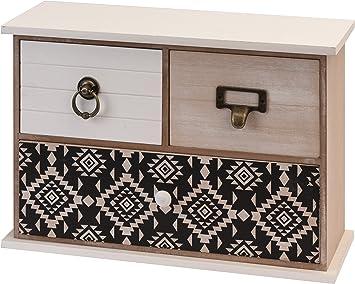 Kleine Kommode 3 Schubladen 32x22 Cm Weiss Braun Holz Kastchen Ethno