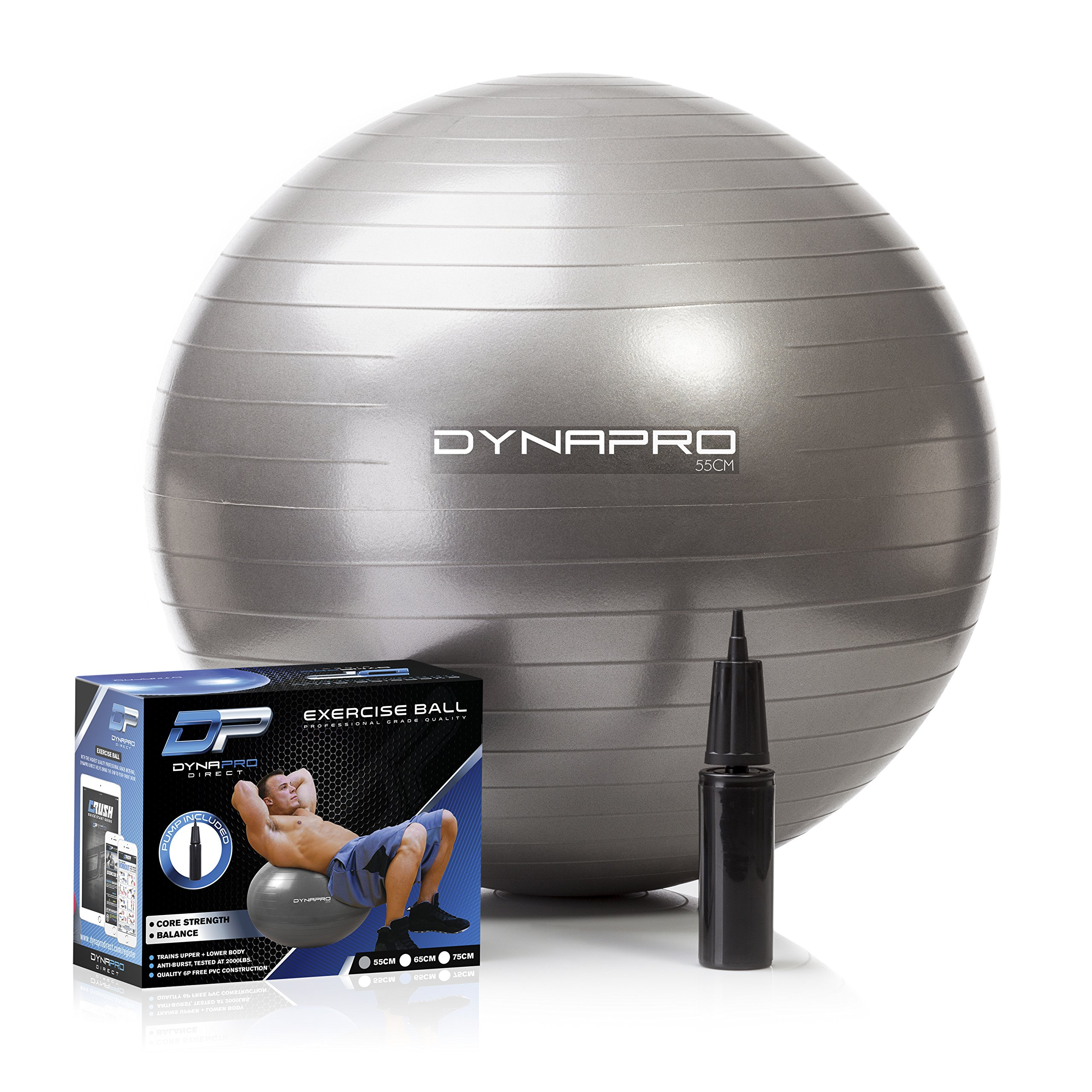 DYNAPRO Exercise Ball - 2,000 lbs Stability Ball - Professional Grade – Anti Burst Exercise Equipment for Home, Balance, Gym, Core Strength, Yoga, Fitness, Desk Chairs (Silver, 55 Centimeters) by DYNAPRO (Image #1)