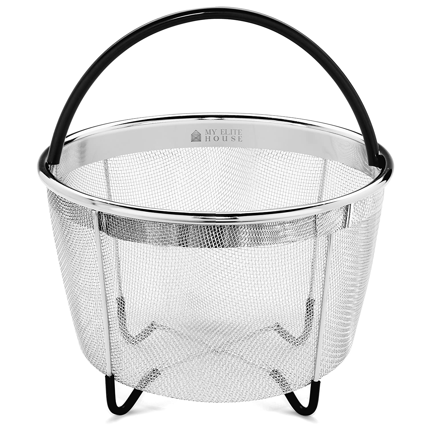 Instant Pot Accessories 6 QT Steamer Basket by My Elite House, Fits IP Insta Pot, Instapot 6 quart & 8 qt, Pressure Cookers, 6qt Premium Stainless Steel Mesh Strainer & Insert w/Silicone Handle