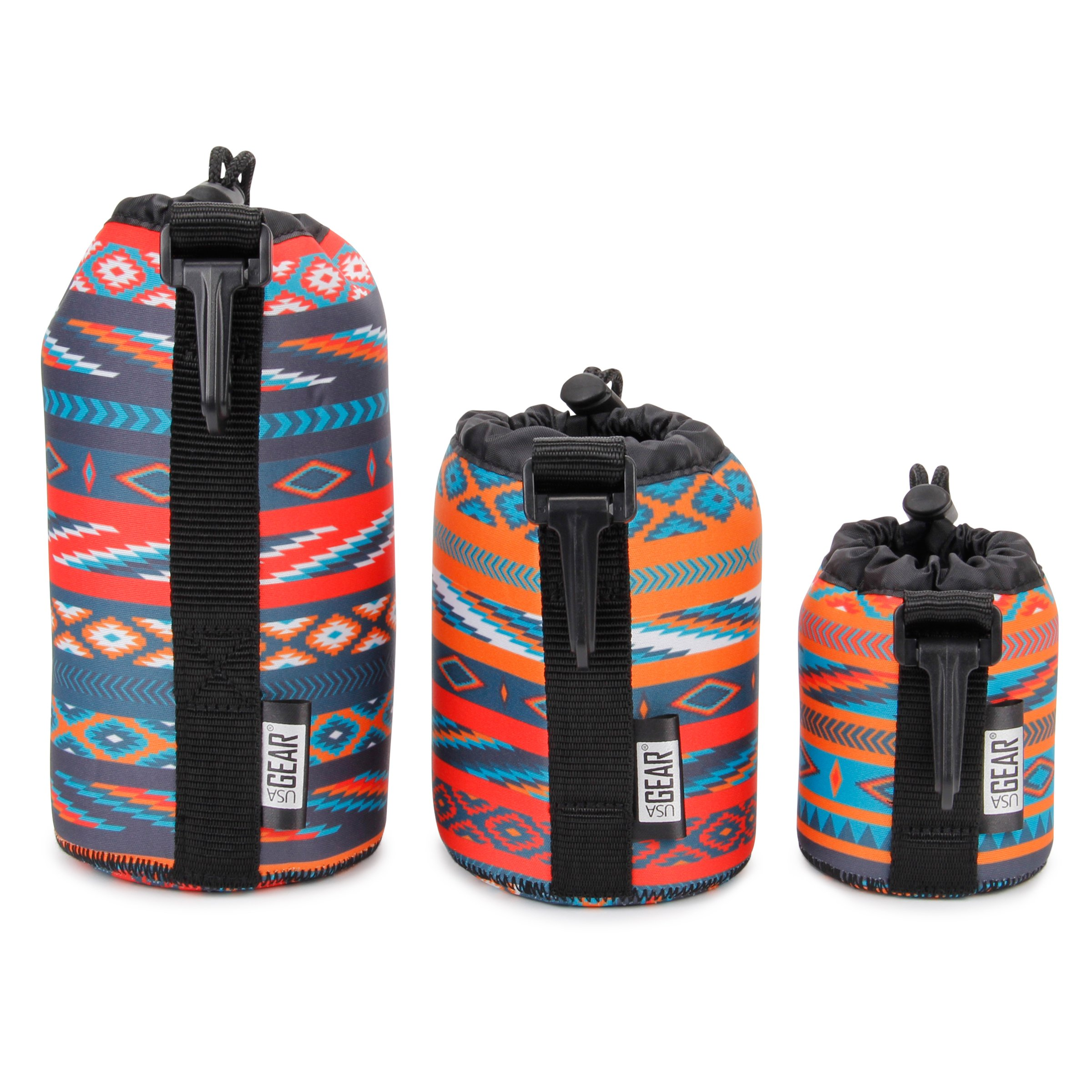 USA Gear FlexARMOR Protective Neoprene Lens Case Pouch Set 3-Pack (Southwest) Small, Medium and Large Cases Hold Lenses up to 70-300mm with Drawstring Opening, Attached Clip, Reinforced Belt Loop by USA Gear