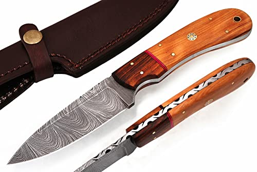 W Trading WT-9021 Custom Hand Made Damascus Steel Blade Gorgeous Hunting Knife with Leather Pouch.