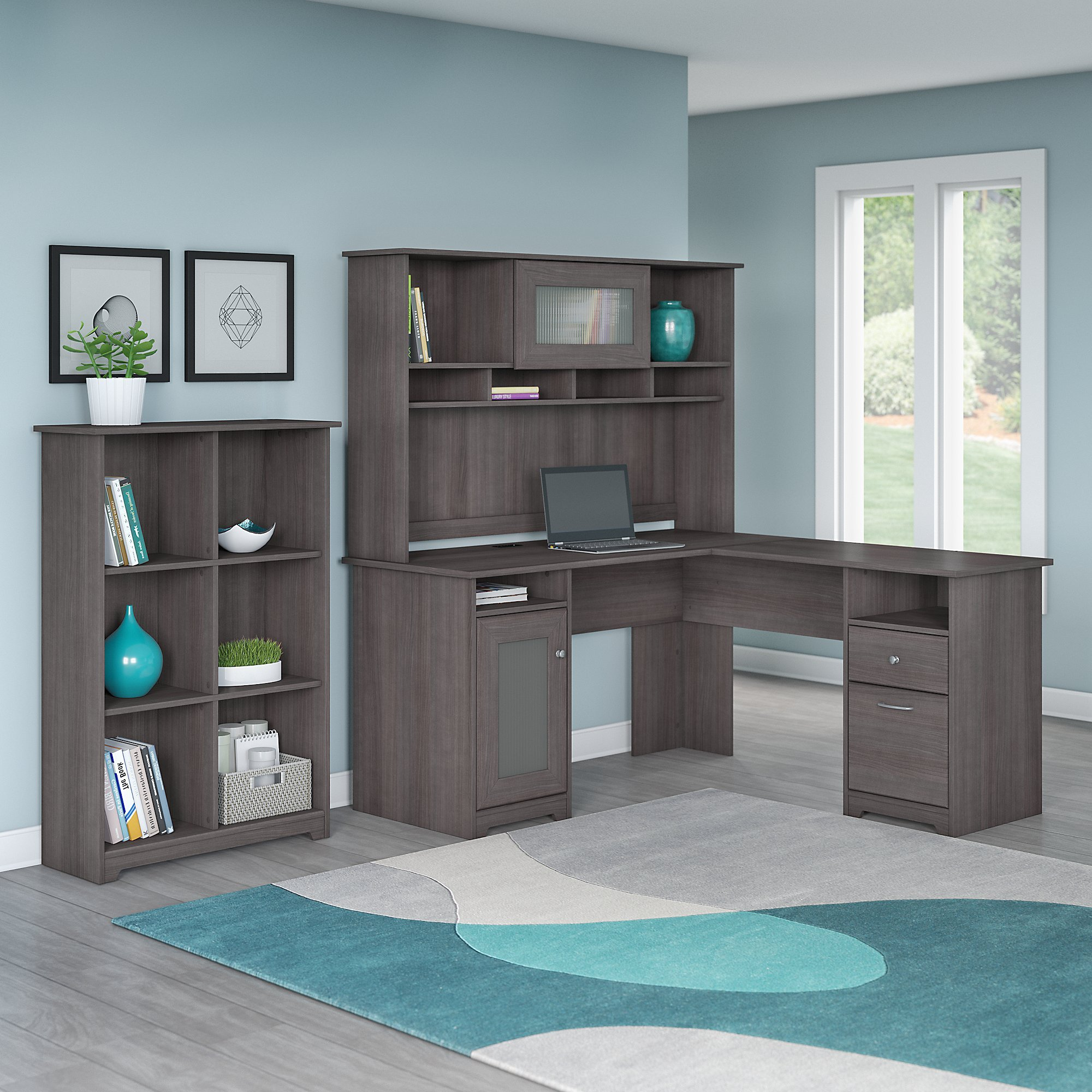 Bush Furniture Cabot L Shaped Desk with Hutch and 6 Cube Organizer in Heather Gray by Bush Furniture