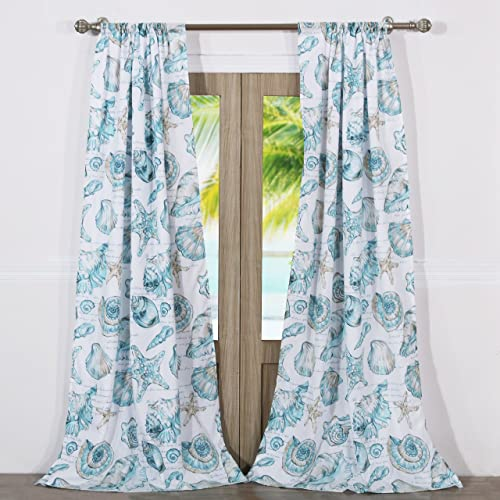 Barefoot Bungalow Cruz Coastal Curtain Panel Set, 84 x 84 inches, White