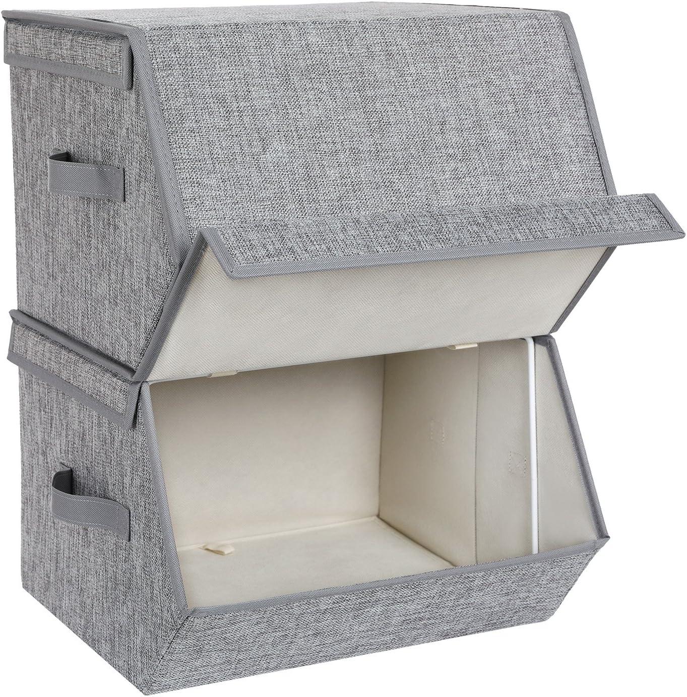 SONGMICS RLB02GY Juego de 2 Cajas de Almacenamiento con Tapa magnética, Cajas Plegables apilables con Funda de Tela, Marco de Metal y Asas Laterales, para Accesorios, Juguetes, Ropa: Amazon.es: Hogar