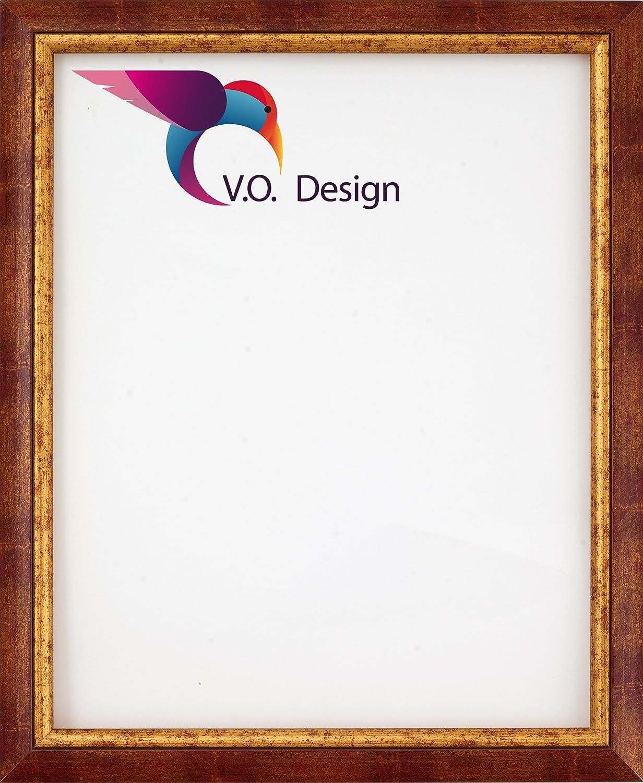 Vogel Design London Holzrahmen 68x74 cm 74x68 cm Farbwahl: Hier Braun-Rot-Meliert mit Goldkante mit entspiegeltem Kunstglas
