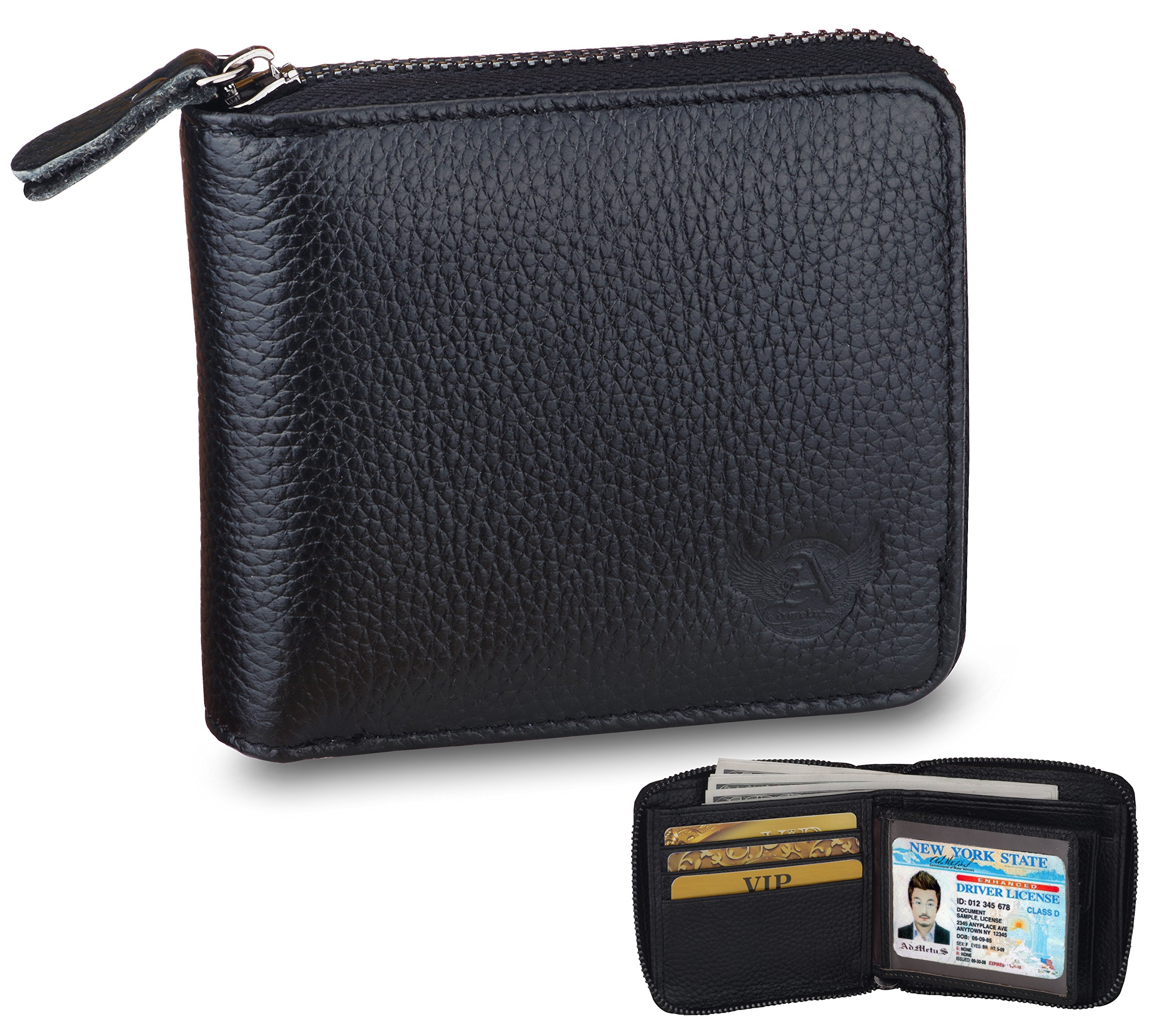 Men's Genuine Leather Bifold Wallet Zip-Around Card Holder Money Clip-Gift Wrapped Black 5