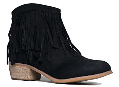 Fringe Ankle Boot- Western Cowgirl Closed Toe Bootie - Low Heel Casual Comfortable Cowboy Walking Boot