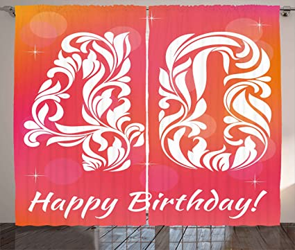 Amazon.com: 40th Birthday Decorations Curtains by Ambesonne, Happy ...
