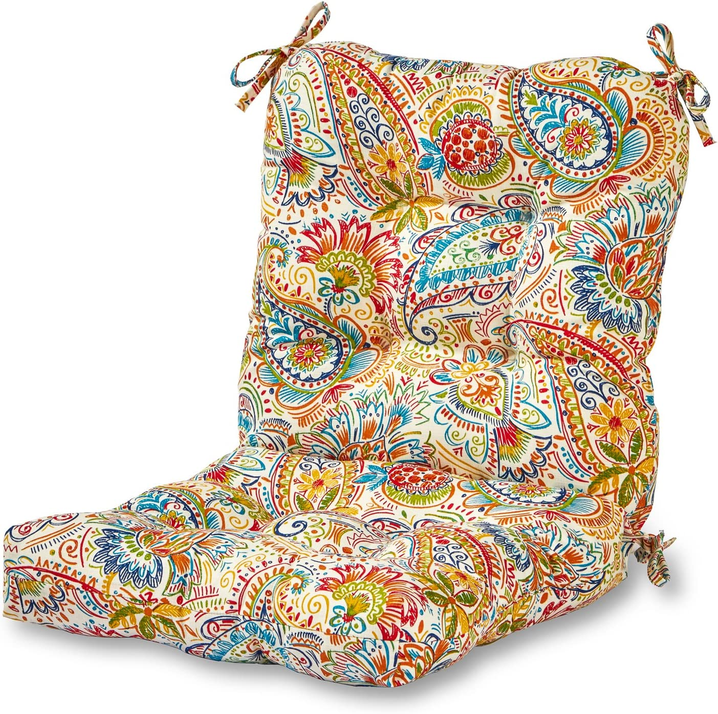 Greendale Home Fashions Outdoor Seat Back Chair Cushion in Painted Paisley, Jamboree