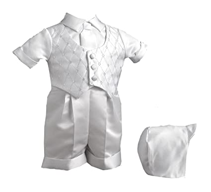 a821cdfdd Amazon.com: Lauren Madison Baby boy Christening Baptism Infant Vestie With  Embroidery And Satin Short: Infant And Toddler Christening Apparel: Clothing