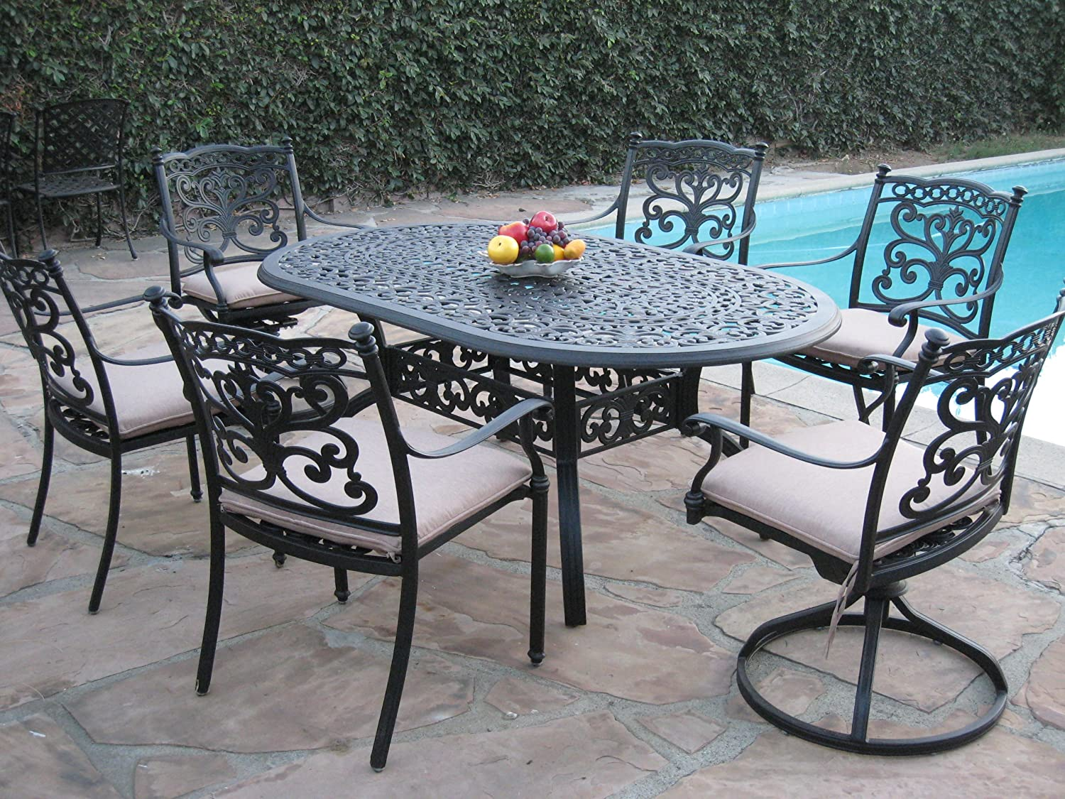 Outdoor Patio Furniture 7 Piece Aluminum Dining Set with 2 Swivel Rockers DS-SA01-4272T