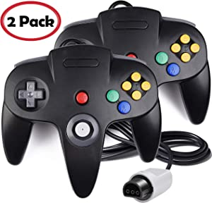 2 Pack N64 Controller, iNNEXT Classic Wired N64 64-bit Game pad Joystick for Ultra 64 Video Game Console N64 System (Black)