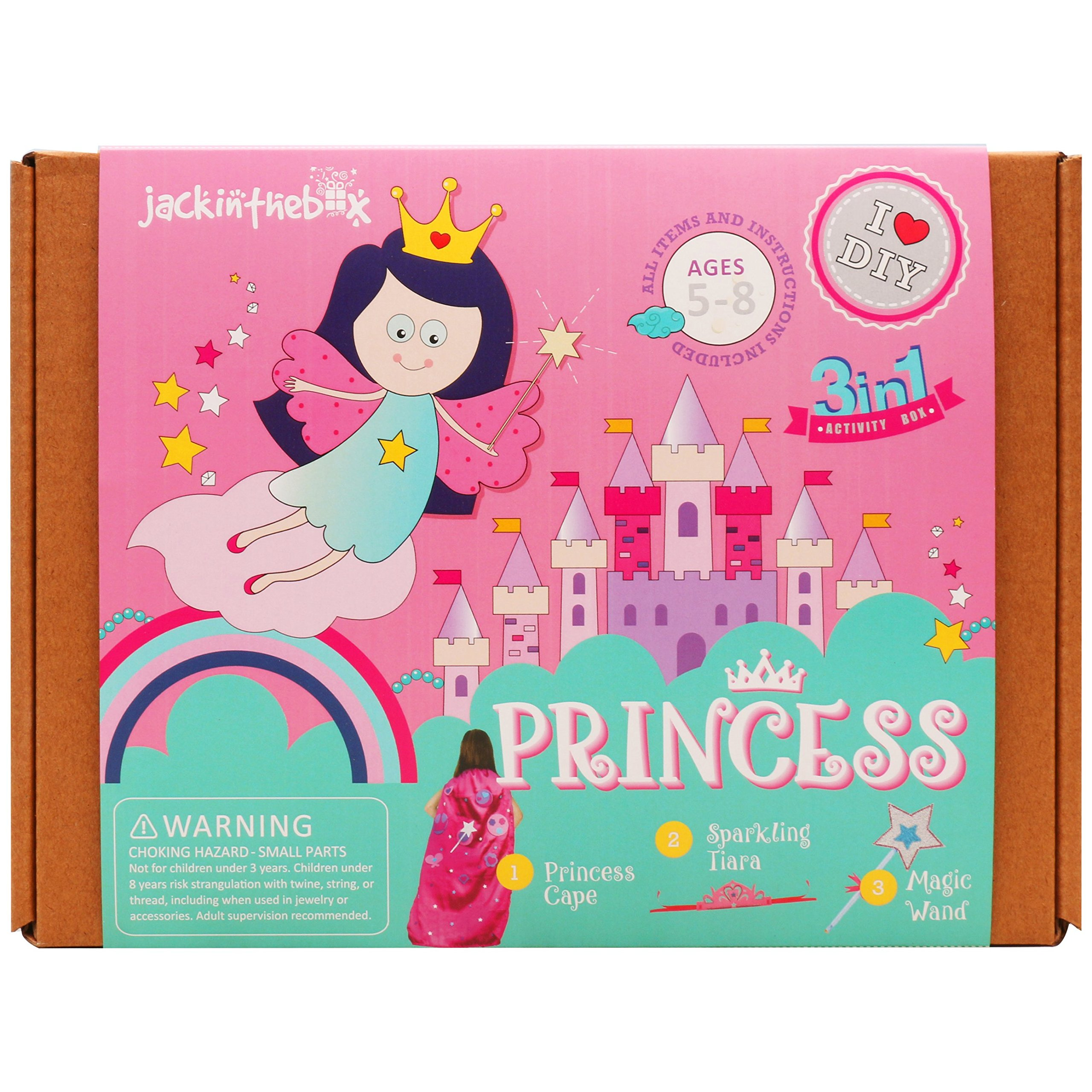 jackinthebox Art and Craft Costume Kit for Kids - Princess Themed 3 Crafts-in-1 DIY Pretend Play Gift for Girls Ages 5-8 Years